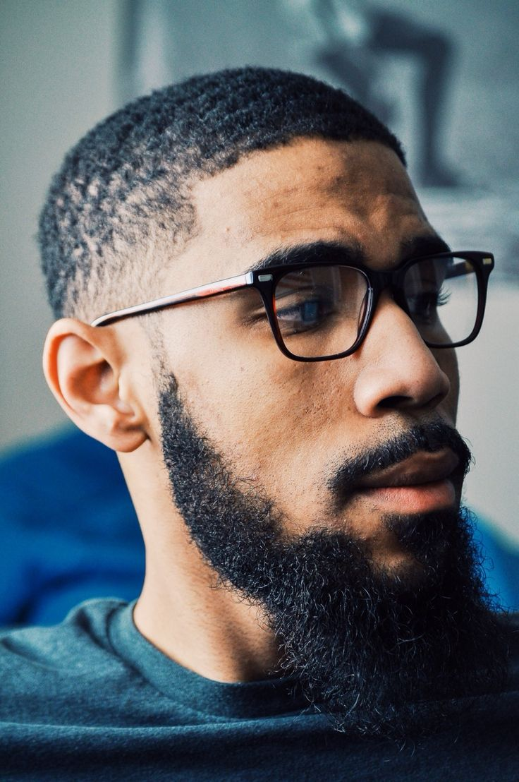 Black Men Beard Styles - Disconnected Sideburns with Mid-Range Beard