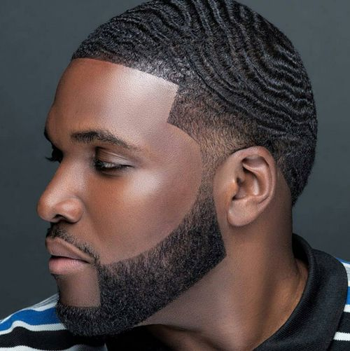 Black Men Beard Styles - Wavy Fade with Geometric Beard